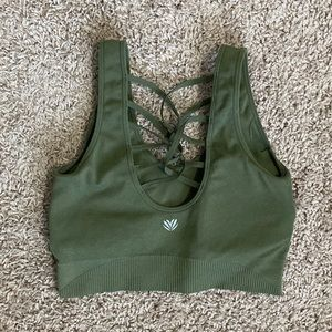 Forever 21 green lace up back padded sports bra
